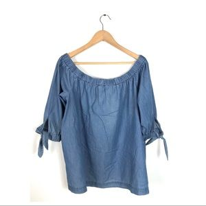 Ann Taylor blouse off the shoulder chambray large